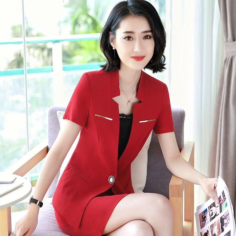 eVLPj de las pequeñas mujeres abrigo de 2.019 nuevos negocios traje de verano de manga corta de verano delgada del todo-fósforo de las mujeres traje de la parte superior