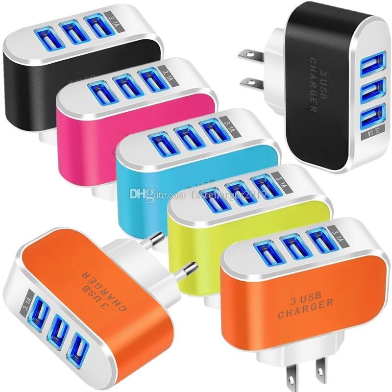 Caricabatterie da parete USA USA 5 V 3.1A 3 porte Adattatore automatico a LED multiplo per Samsung Galaxy S6 S7 S8 S10 HTC Android PC PC