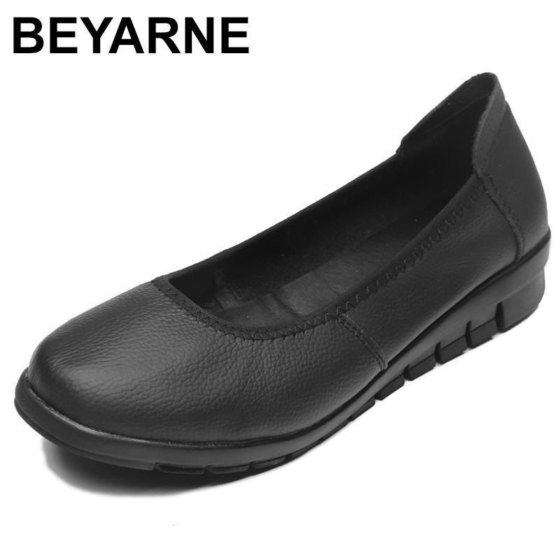 BEYARNEClassic Negro Zapatos planos del ballet de las mujeres 2020 del cuero genuino pequeñas cuñas de baja superficial talón cómodo ShoesWomanE111 Trabajo