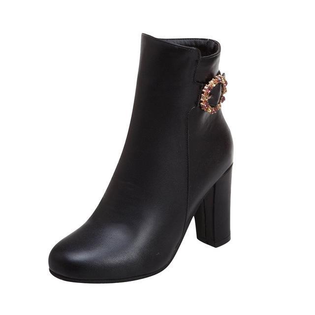 Schliesse Armband weiß Leder kurze Stiefel für Damen Fashion Square Root-Absatz-Schuhe Frau wasserdichten Plattform-Absatz-Booties