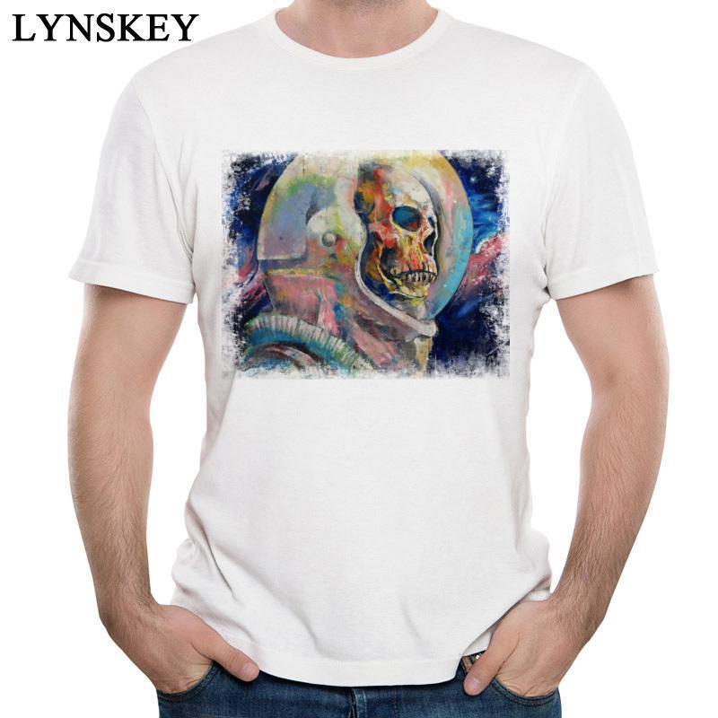 Camiseta del cráneo del astronauta Dying sueño camiseta de los hombres de algodón blanco remata tes Muerto Espíritu camiseta Ropa Tela verano de la vendimia