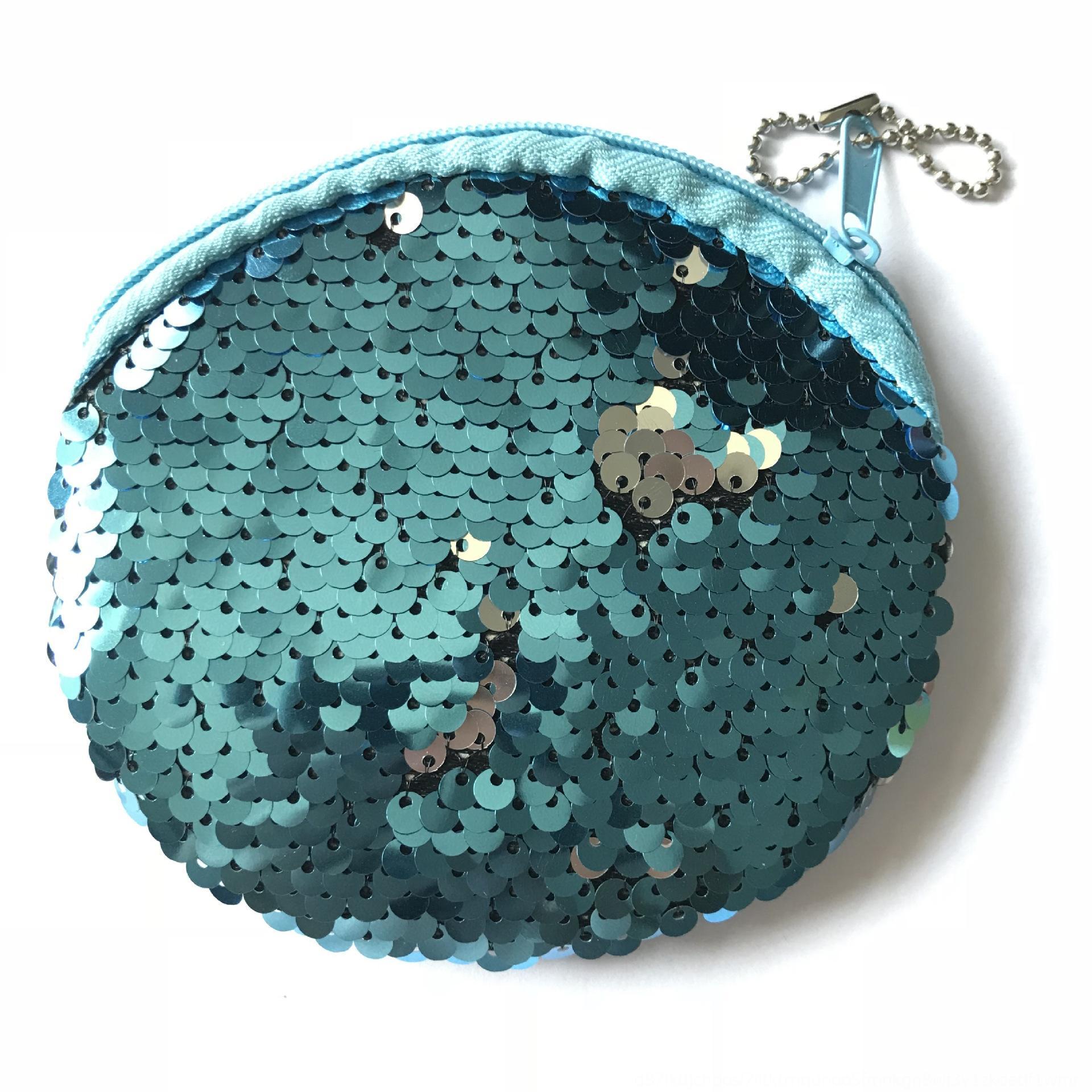 인어 장식 조각 열쇠 고리 동전 저장 이어폰 저장 지갑 플러시 라운드 동전 가방 지퍼 이어폰 가방