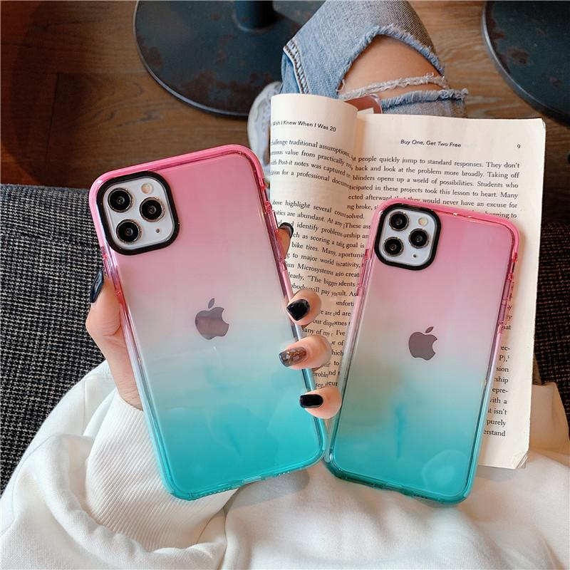 DHL Free Gradient Shockproof Phone Case For iPhone 12 Mini 11 Pro Max XR XS Max X 8 7 6 Plus SE2 Soft TPU Bumper Transparent Back Cover