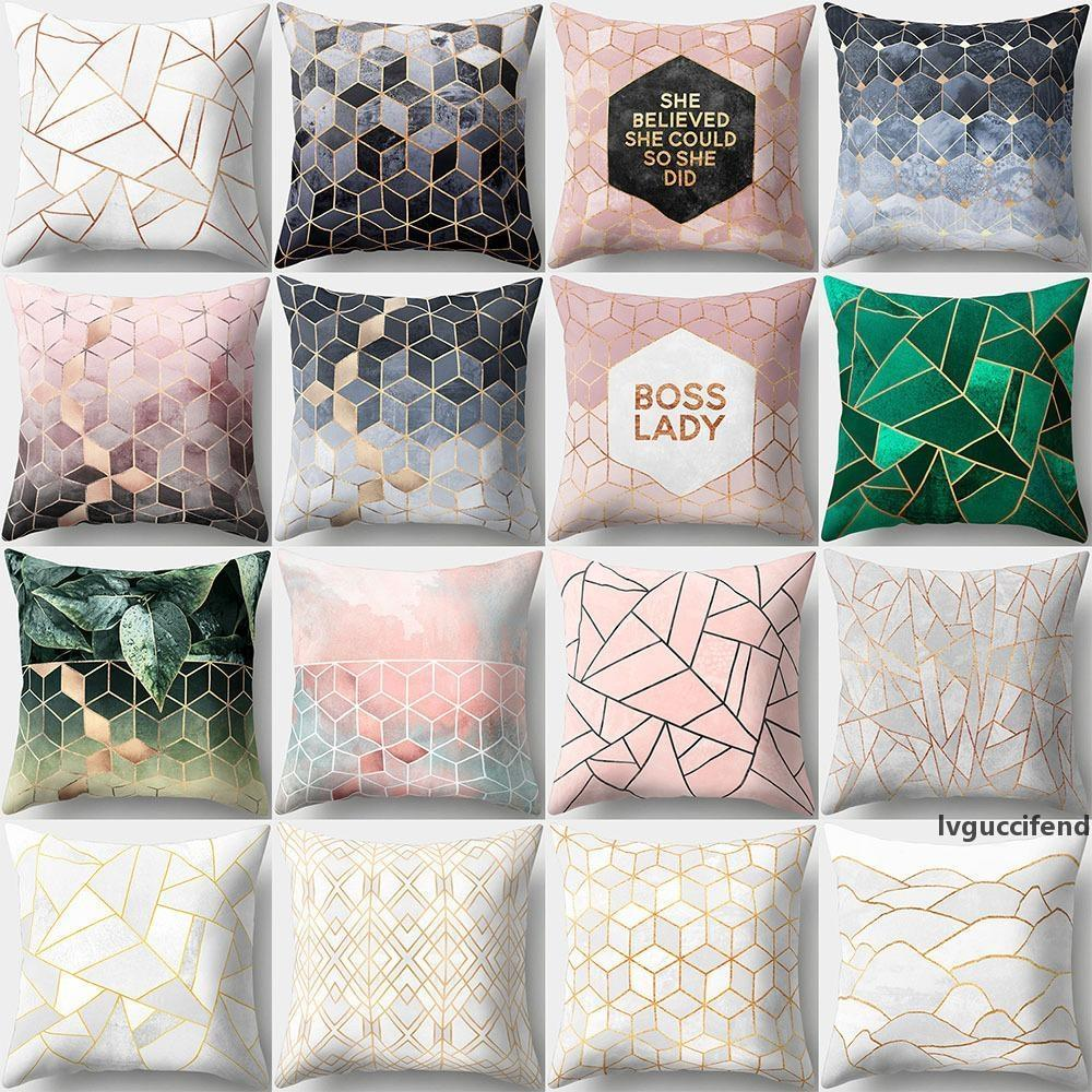 Caso geométrico del patrón del estilo de la cubierta del amortiguador de poliéster piel de melocotón cubierta de almohadas Home Office Decor Almohada para el coche del sofá los 45 * 45cm