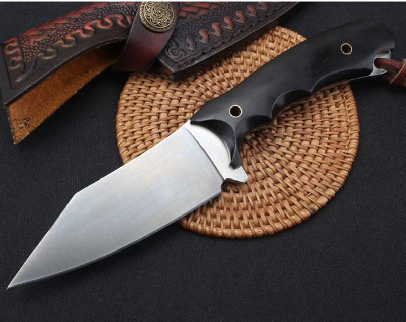 2020 New High Quality Survival Straight Hunting Knife D2 Satin Blade Full Tang Ebony Handle Fixed Blade Knives With Leather Sheath