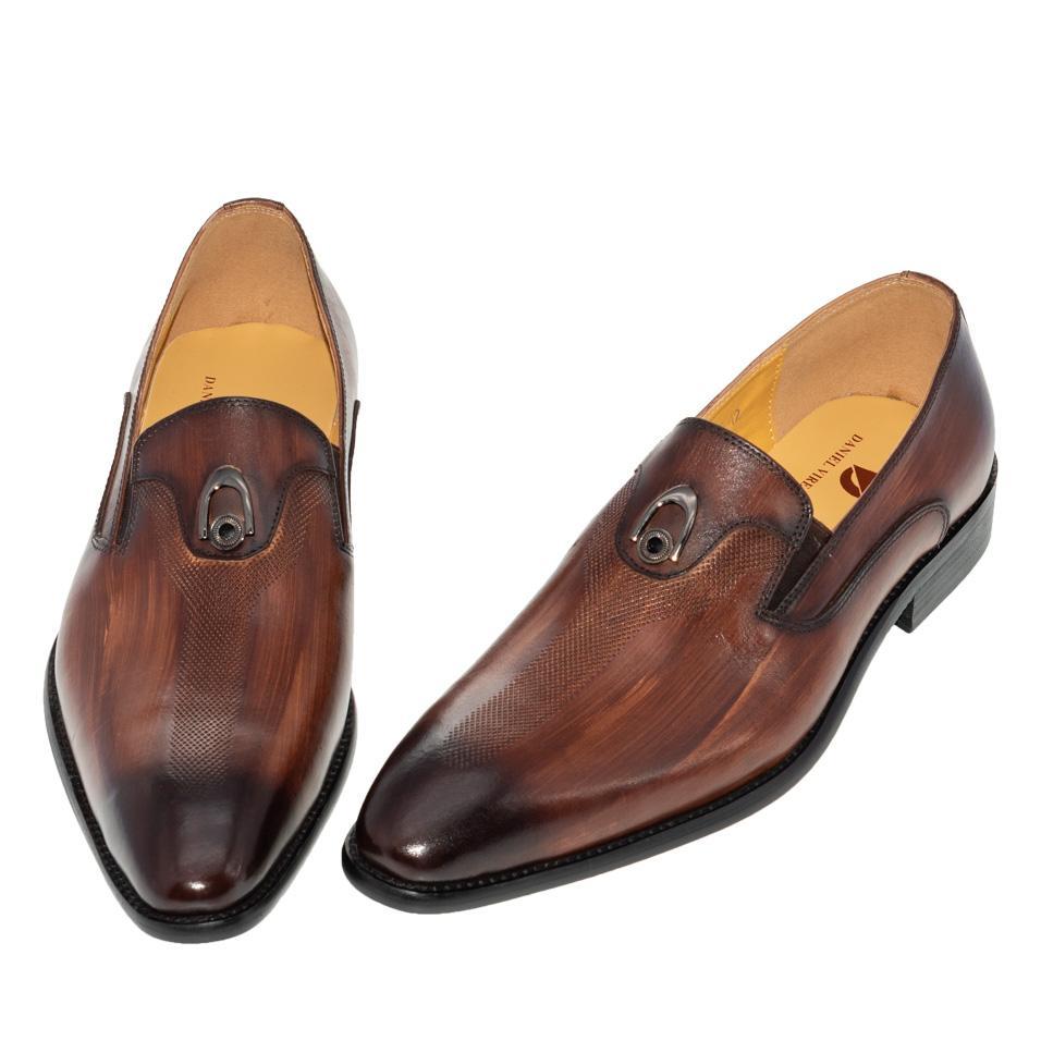 El yapımı Büro İş Gelinlik Loafers El yıkama renk metal süslemeleri Suit Biçimsel Gerçek Deri Erkek Ayakkabı