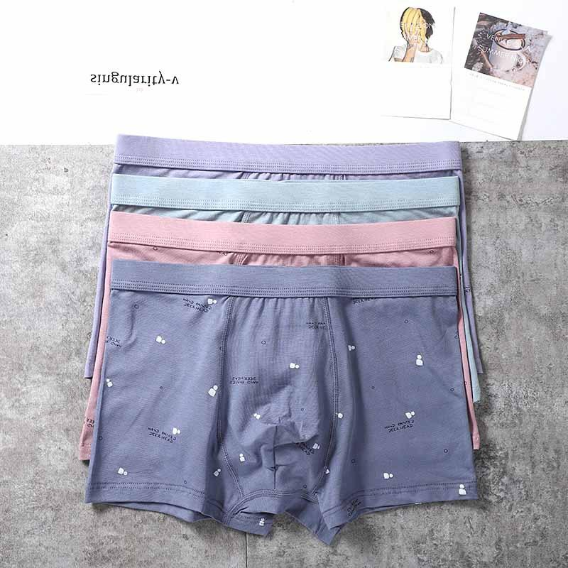 nouvelle mi-taille dessin animé de sous-vêtements en coton imprimé coton grande taille short boxer respirant short boxer marée hommes JH