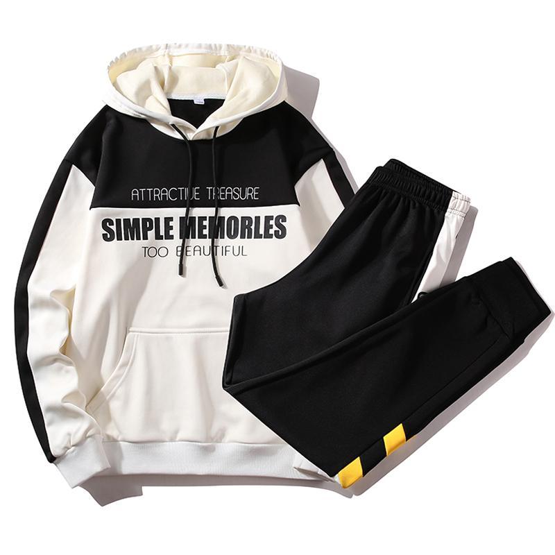Hip Hop chándal Set Hombres 2020 nuevo de la manera Streetwear sweatsuits Men 2 piezas traje de pantalón para hombre de los hoodies Impreso Pista