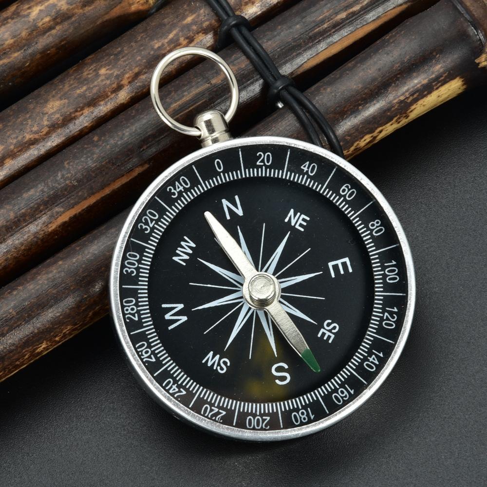 Boussole aluminium léger d'urgence portable Survie extérieure Compass Outil G44-2 outil de navigation noir sauvage Brujula Chaveiro