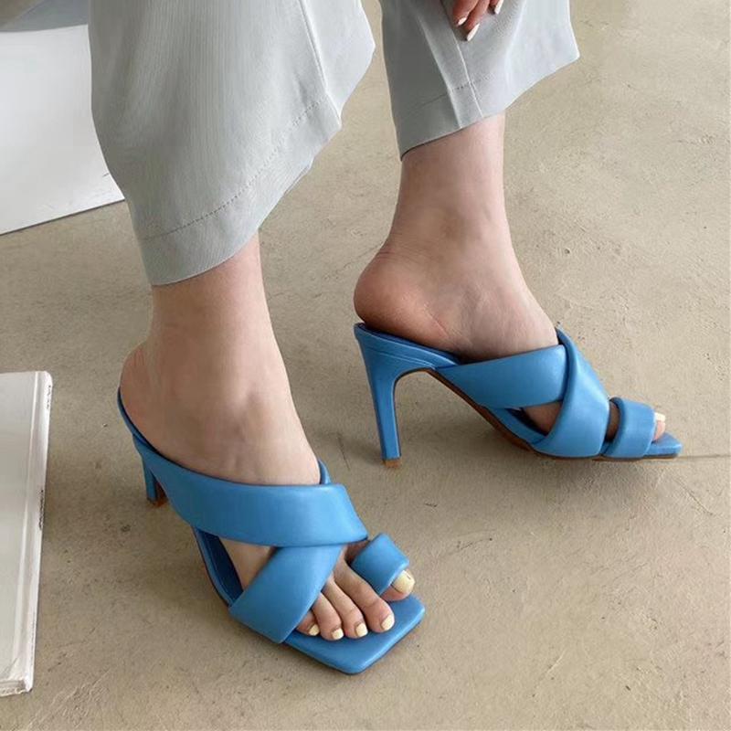 Mules Women Slipper 202 Summer Square Toe High Heel Sandal Design Sexy Ladies Dress Slides Shoes Flip Flo