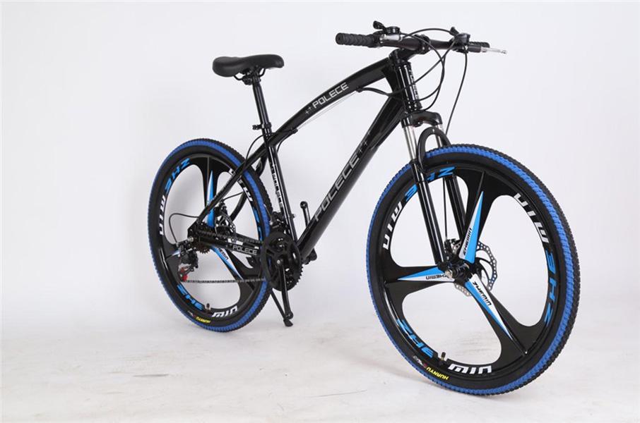 Polece Dağ Bisikleti 26 inç 21 Hız Çift Disk Frenler Yüksek Karbonlu Çelik Çerçeve Kaymaz Süspansiyon MTB Bisikletler koyu mavi Bisikletler