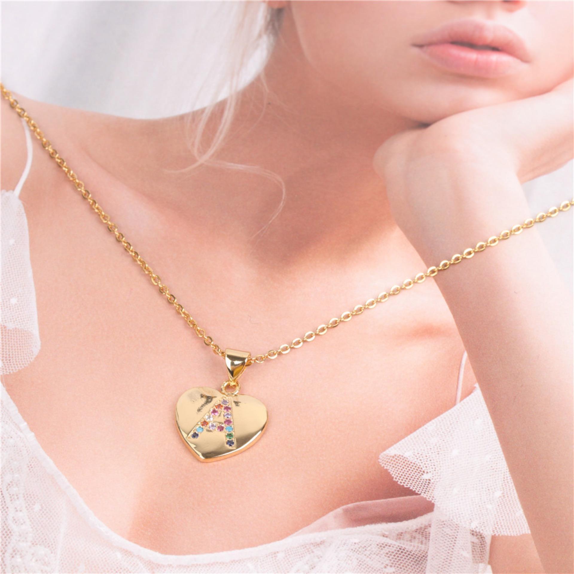 Neueste IN Fashions Mädchen-Halskette eingelegten Love Letters Halskette A bis Z Zircon mischten Art-Entwerfer-Frauen-Haar-Zusätze