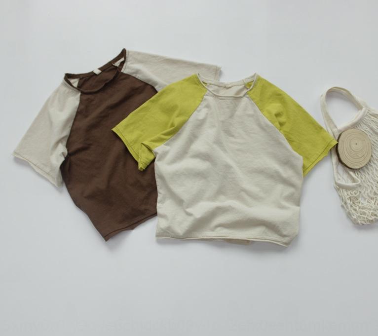 Zrs5l карты лесов детская с коротким рукавом корейской детской одежды футболки одежда панель рукав реглан контрастного цвета свободный край футболки