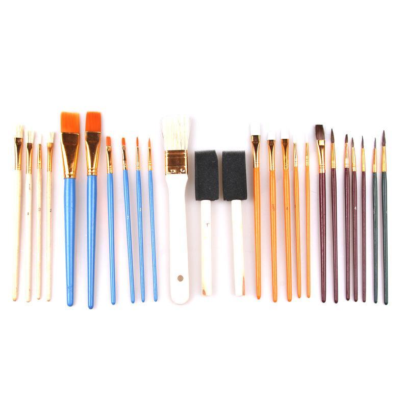 25PCS / مجموعة ألوان مائية الغواش الطلاء فرش مختلفة الشكل جولة اشار تلميح الشعر النايلون لوحة اللوازم فرشاة مجموعة الفن
