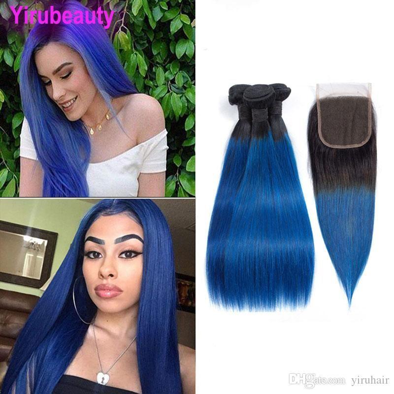Brasiliana vergine dei capelli Bundles con chiusure Etero 1B Blu 3 Bundle Con 4X4 chiusura del merletto a due toni di colore 1B / 4PCS blu