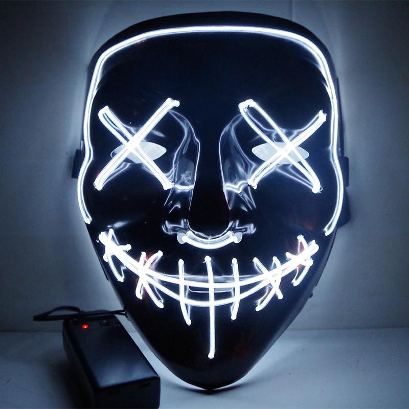 Halloween Neon LED Masque costumée purge Masques masque d'horreur masque effrayant cosplay costume Led DJ Party Light Up Mascara Glow