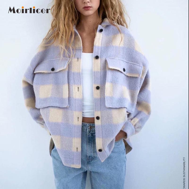 Vintage lila Gitter langer Jackenmantel Plaid Wollhemd Jack Frauen 2020 Frühlingshemd Jacke übergroße Frauen plus size