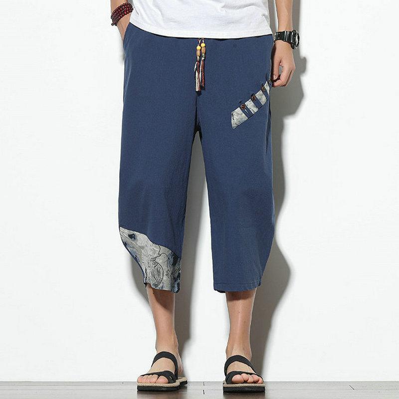 Erkek Pantolon Erkekler Harem Joggers Baskılı İpli Damla Kasık Pantolon 2021 Gevşek Streetwear Pamuk Casual Bırak