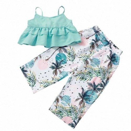 1-5Yeasr para niños de la niña de ropa 2Pcs 2020 estilo de la playa del verano del chaleco sin mangas Volantes Top camisetas + larga impresa Pantalones Trajes LQyQ #