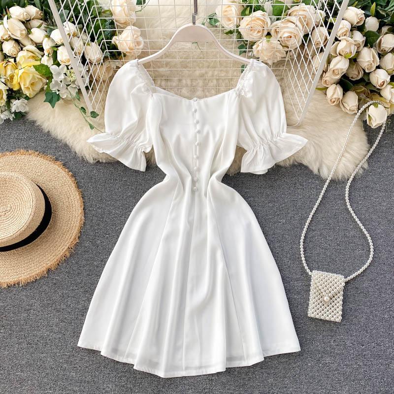 одежда Square Collar 2020 новых женщин способа выше колена, Мини-платья женские платья