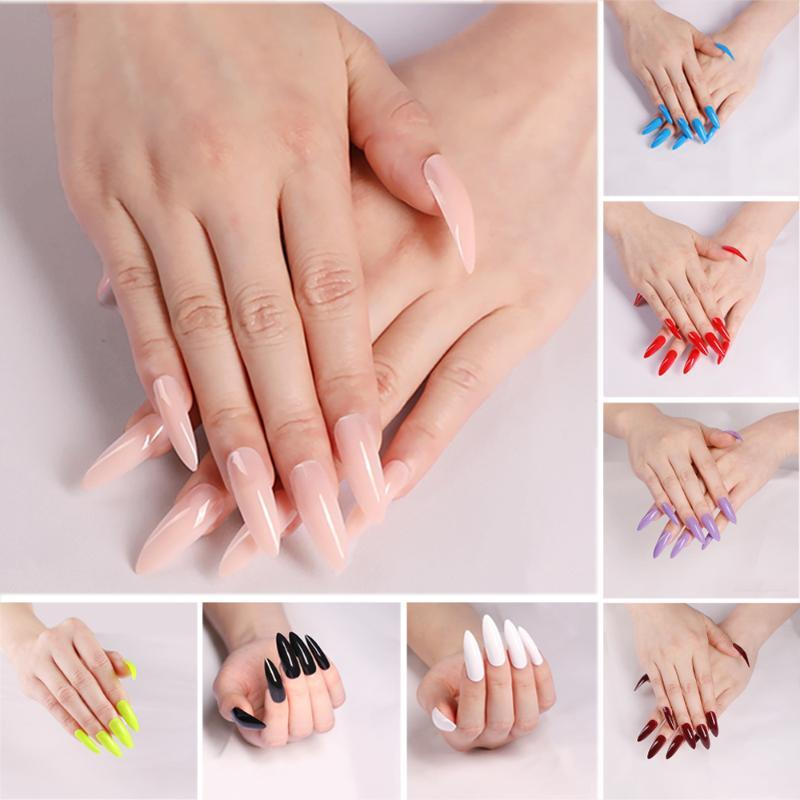 24Pcs/Sheet Acrylic Extra Long Stiletto Coffin Artificial Manicure False Nail Tips Nail Art Tool Fake Nails Extension