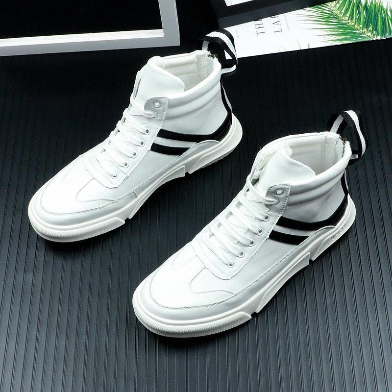Мужская обувь Цельнолитные Досуг корейской версии тенденции моды высокого верха обуви Спорт амортизирующие White Мужская BdIQ #