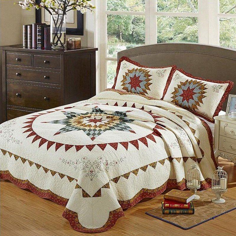 100% Cotton Königin Bedspread Geometric Quilt Coverlet Thick Bettdecke Qualitäts-Tagesdecke Kissenbezüge Bettdecken und Bettüberzüge König 5IWK #
