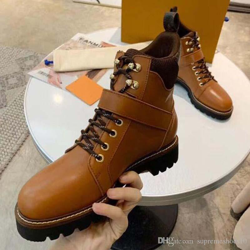 Women boots Print Canvas Star Trail Lace-up Ankle Boot Genuine Leather Elegant Lady Chunky Heel Rubber Outsole Brown Boots t3