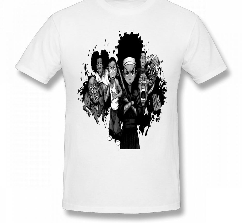 Shirt novità Craig Smokey Boondocks Huey e Riley T per gli uomini del cotone di qualità grafica maglietta