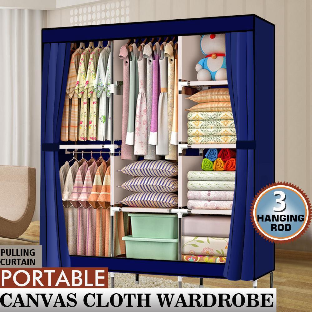 """71 """"المحمولة خزانة خزانة الملابس الرف التخزين المنظم مع الجرف الأزرق الغرض المزدوج خزانة للأحذية والملابس"""