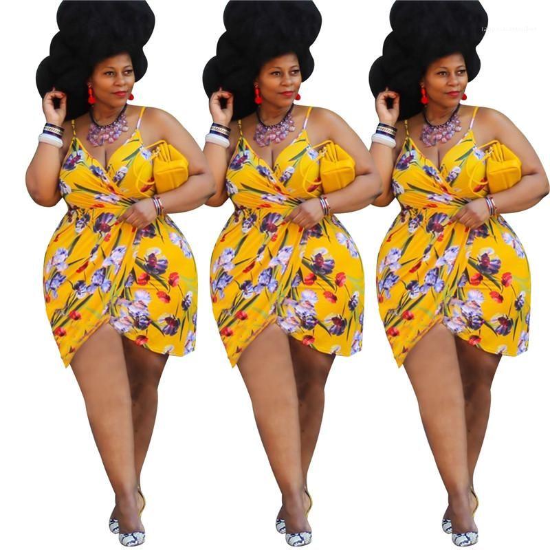 Damenmode Frauen Plus Size Kleider Mode-Blumen Panelled natürliche Farben Kleid Sexy V-Ausschnitt Ärmel Asymmetrische Kleider