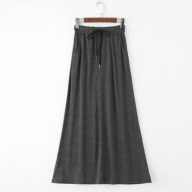 qSmpk ZHRKO 2020 yeni modal yaz-uzun orta uzunlukta kadınların büyük boy yüksek A- HATTI elbise hattı uzun bel yönlü Kore tarzı etek etek
