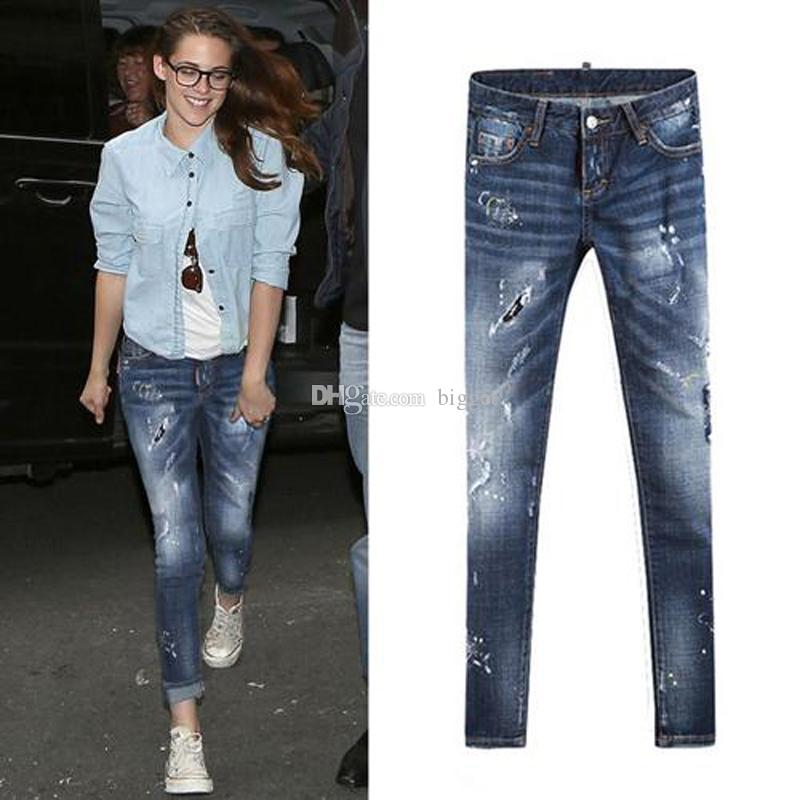 2020 S / S Ağartma Soluk Skinny Fit Bacak Kot Kadın Açık Mavi Boyalı Sıkıntılı Denim Pantolon Kızlar