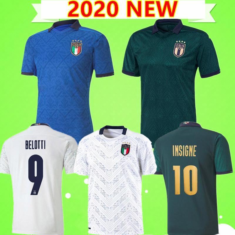 2020 2021 blanc bleu vert maillot de football de l'italie 20 21 CHIELLINI BONUCCI BERNARDESCHI BELOTTI SENSI BARELLA INSIGNE chemise européenne de football