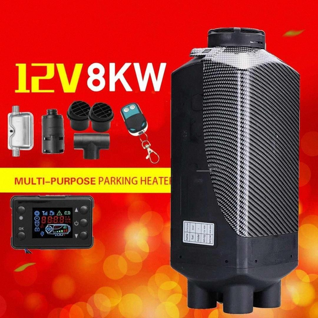 Car Heater 12V 8KW Parking Air Diesels Heater LCD Monitor 4 Hole with Remote Control + For Motorhome RV Trucks Bus Boat uIMv#