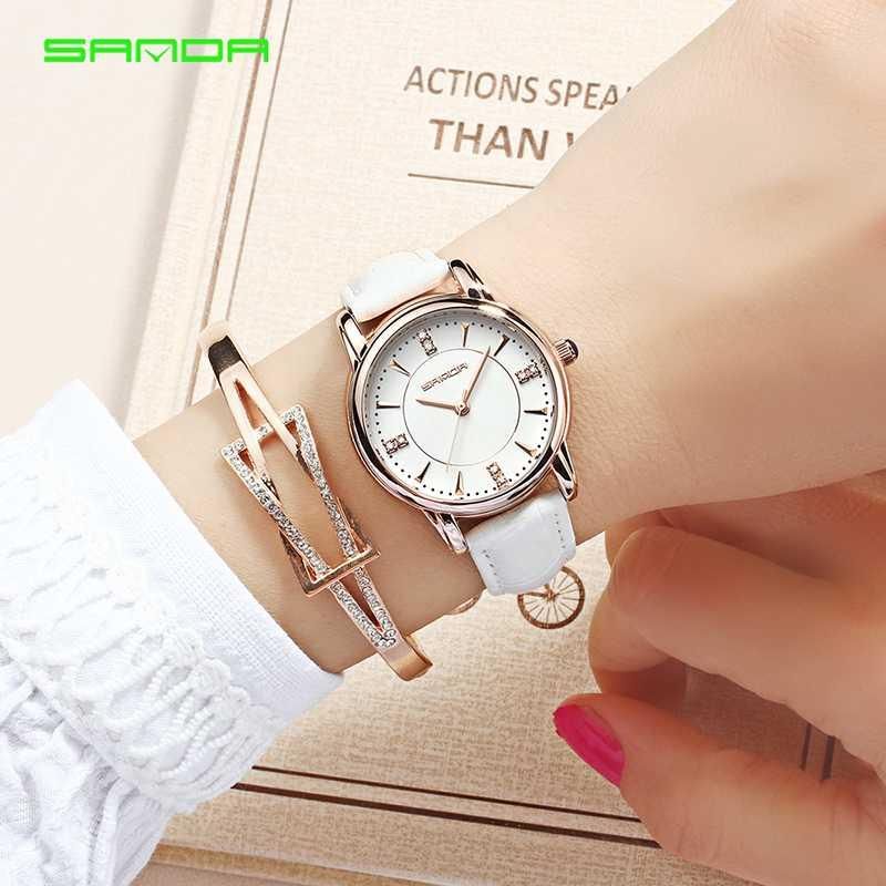 Pelle di SANDA quarzo donne orologio da polso Ladies Watch Women Fashion impermeabile orologi Relogio Feminino
