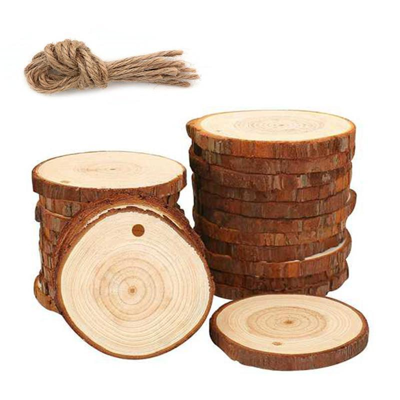 Christmas Ornaments Wood DIY Small Wood Discs Circles Painting Round Pine Slices w/ Hole n Jutes Party Supplies
