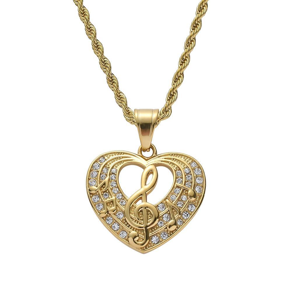 Zircon Heart Shape Pendant With Music Symbol Stainless Steel Hip Hop Pendant Necklace Fashion Style Jewelry