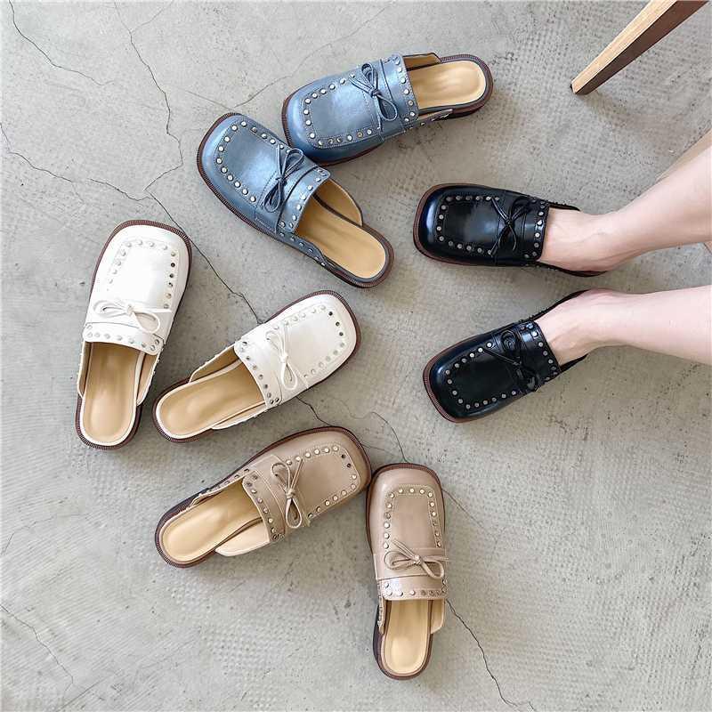 2020 nuevo de las mujeres La mitad de pelo grueso tacón bajo zapatos de las señoras del arco del metal de los nudos de los zapatos de moda al aire libre Pisos Diapositivas Diapositivas para la mujer