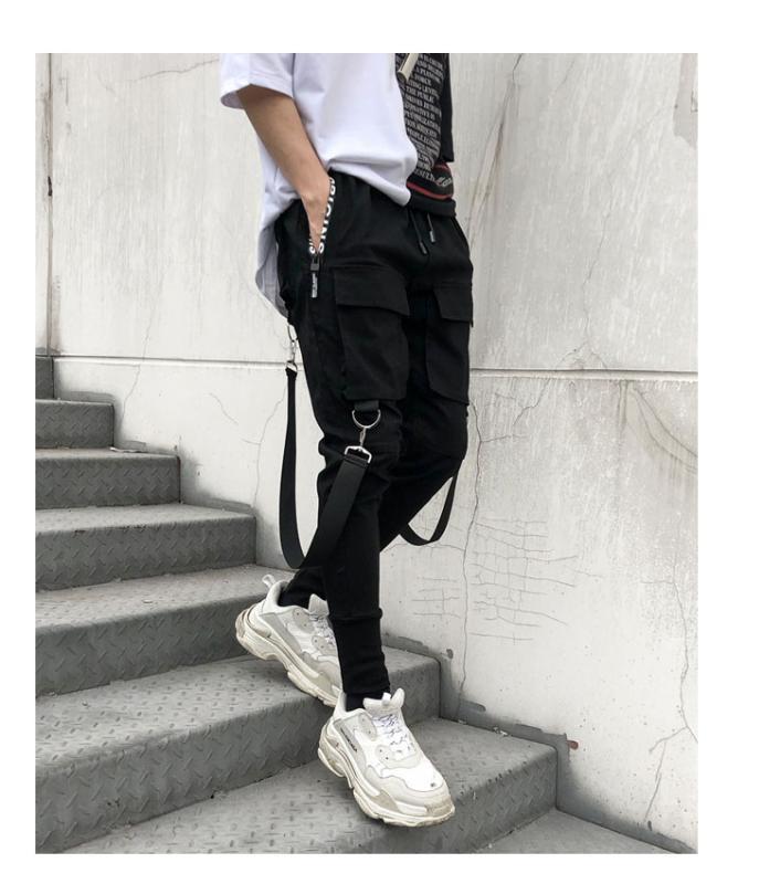 Pantalon pour hommes 2021 Automne Hip Hop Joggers Mens Harem Harem Multi Poche Rubans Sports Streetwear Casual Hommes Pantalons S-3XL