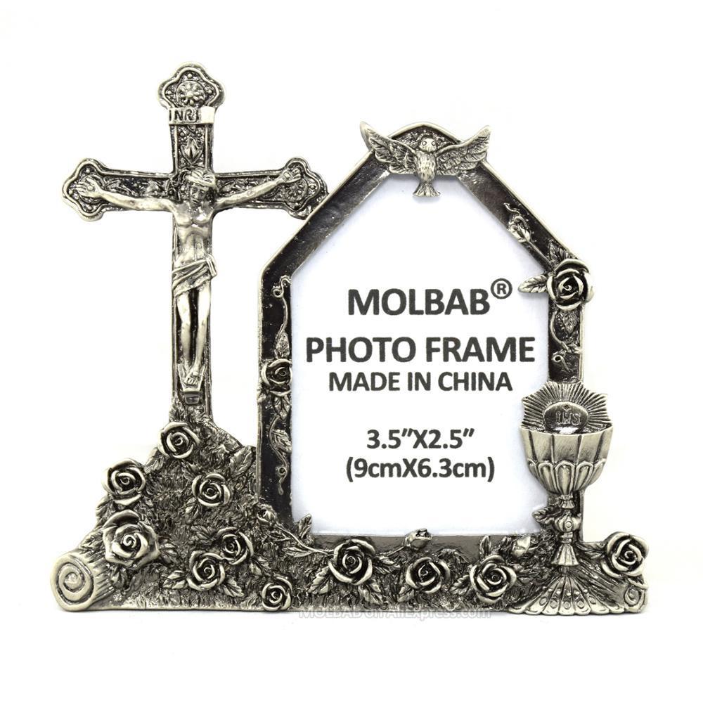 MOLBAB Tabletop Métal Verre Voir Cadre photo Fenêtre Jésus Crucifix INRI Croix alliage Cadre photo Christian Art Home Decor