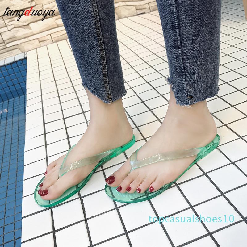 2020 Sommer-Frauen-Schuh-Frauen-Flip-Flop Weiblicher Komfort-Wohnung mit Freizeitschuhen Transparent Fest Strand Flip Flops Kühlen Slides t10