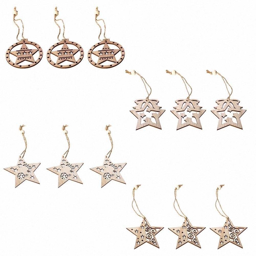 3PCS étoile creux Pendentifs en bois Ornements de Noël Ornement d'arbre de bricolage en bois artisanat Enfants cadeau pour la maison Décorations de Noël Party # QGBA