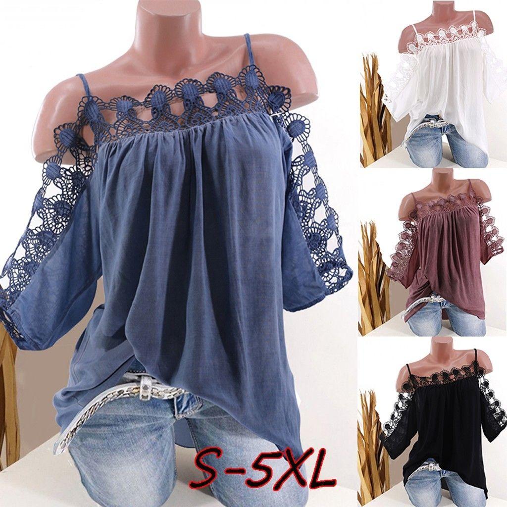 mulheres projeto oco moda casual blusa Verão fora do ombro Plus Size S-5XL top solta Feminino tendy blusas Vestido Mujer Y200622