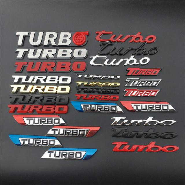 Stickers 1 PCS 3D TURBO Emblem Logo lettres badge Fender Chrome Réaménagement Trunk Autocollants de voiture 3D pour Cruze Geely Audi Car Styling