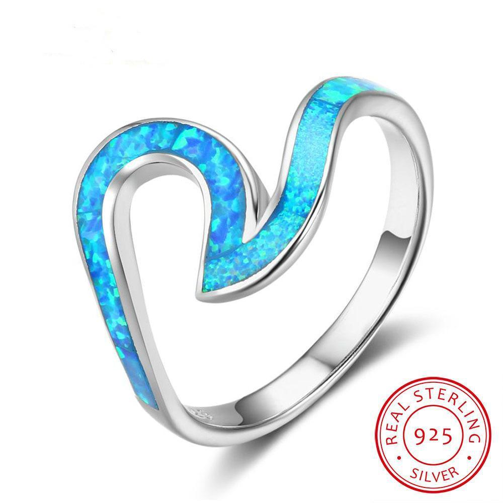 Ocean Style 925 Sterling Silver Wave Shape Blue Opal Stone Finger Rings Women Party Jewelry Best Friend Gift