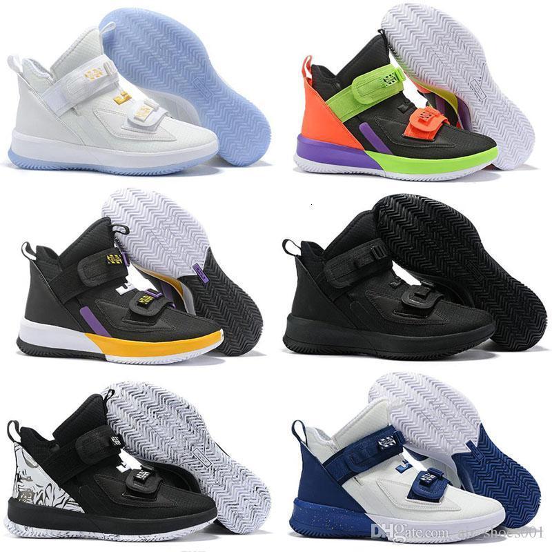 2019 Moda Soldado 13 XIII Triple hombre del negro del oro blanco azul hielo zapatos de baloncesto de los soldados 13s TIRE cordones zapatillas deportivas