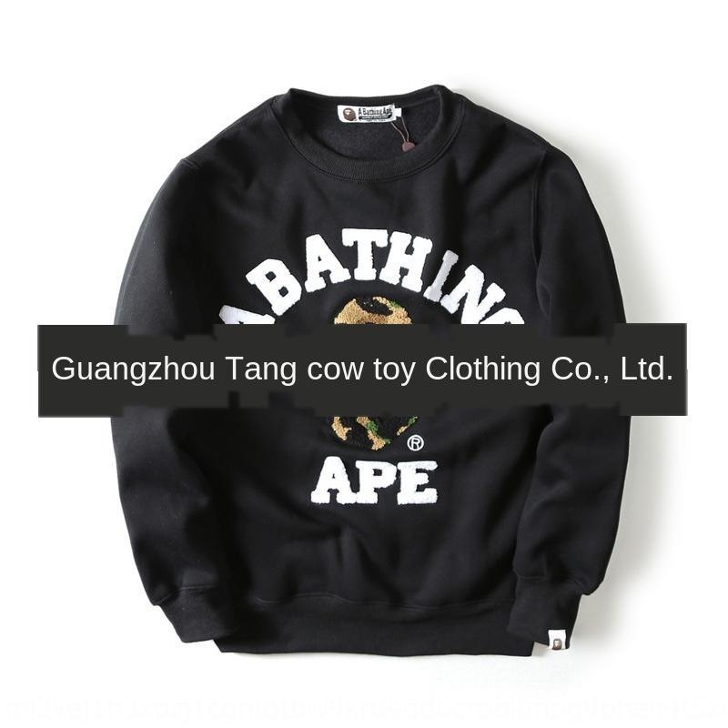 rXfrh Trendy telo di base girocollo ricamato maglione del pullover camicia del pullover di marca velluto tovagliolo