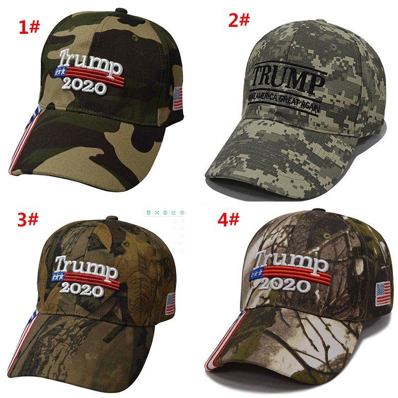 Nouveau Donald Trump Cap Camouflage Keep America Grand drapeau USA Casquettes Snapback Chapeau de broderie Étoile Lettre Camo Armée Cap LJJA1828