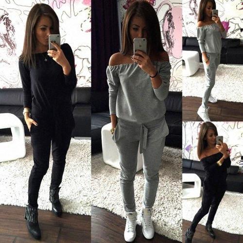 Las nuevas mujeres 2pcs noche en general Clubwear partido de las señoras PLAYSUIT Pantalones mameluco mujeres de las señoras del mono de los mamelucos Breve sólido 5HAI #